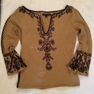 Bette Page Caramel Sweater With Brown Stit…